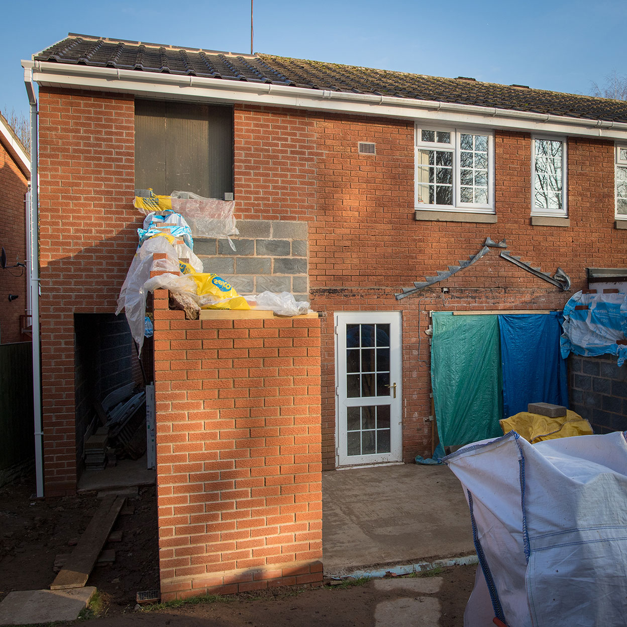 The house extension taking shape in December 2018