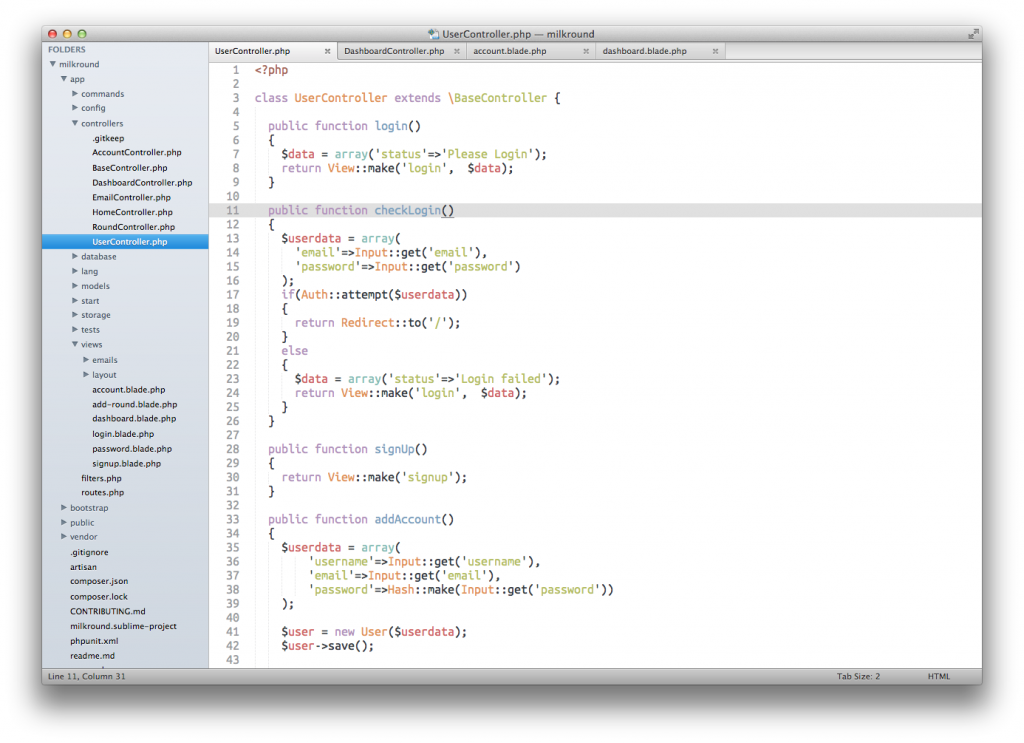 Sublime Text with the Soda theme and Base 16 tomorrow colour scheme