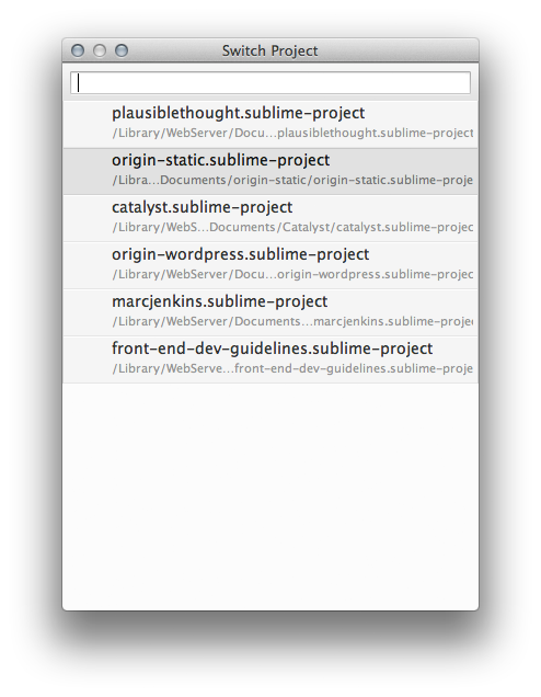 Sublime Text Switch Project Menu