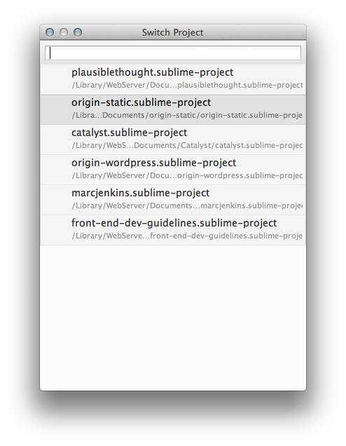 Sublime Text Switch Project Menu
