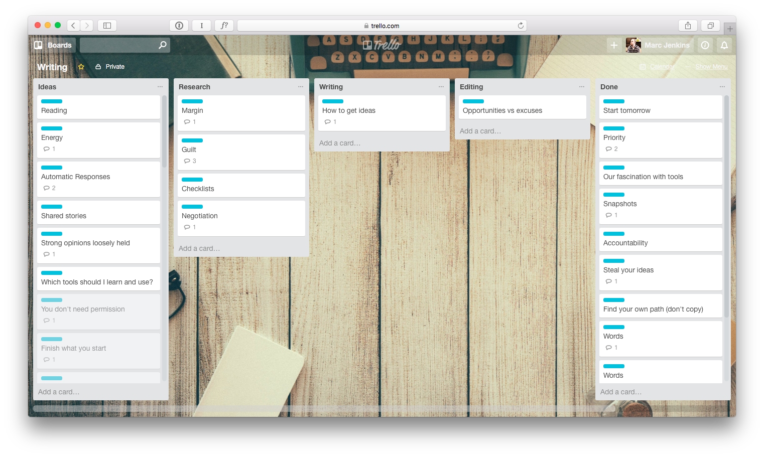 Trello Writing Board
